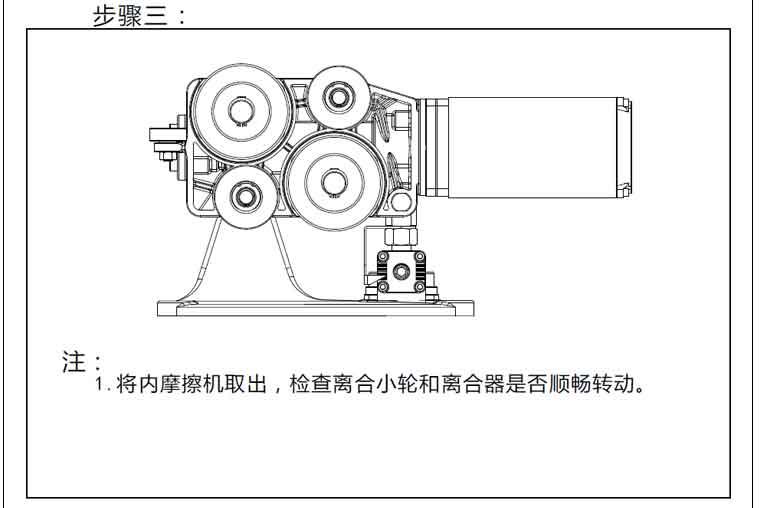检查离合小轮和离合器是否顺畅转动