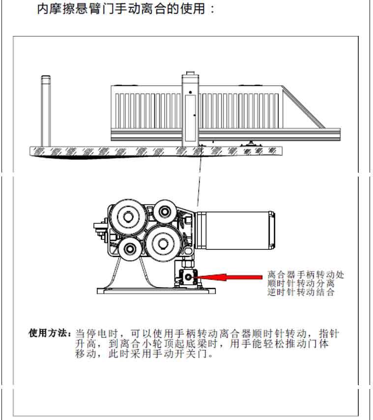 内摩擦悬浮门手动离合的使用
